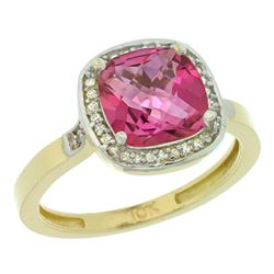 Natural 3.94 ctw Pink-topaz & Diamond Engagement Ring 10K Yellow Gold - REF-29V2F