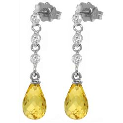 Genuine 3.3 ctw Citrine & Diamond Earrings Jewelry 14KT White Gold - REF-42V9W