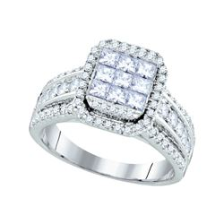 1.51 CTW Princess Diamond Cluster Bridal Engagement Ring 14KT White Gold - REF-179M9H