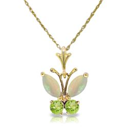 Genuine 0.70 ctw Opal & Peridot Necklace Jewelry 14KT Yellow Gold - REF-24M4T