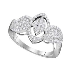 0.45 CTW Diamond Oval Cluster Ring 10KT White Gold - REF-26X9Y