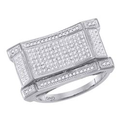 0.50 CTW Mens Pave-set Diamond Concave Rectangle Cluster Ring 10KT White Gold - REF-71W9K