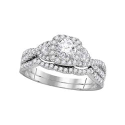 1 CTW Diamond Bridal Wedding Engagement Ring 14KT White Gold - REF-134X9Y