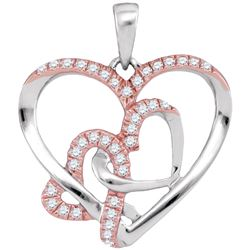 0.25 CTW Diamond Heart Love Pendant 10KT Two-tone Gold - REF-20N9F