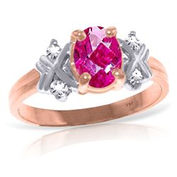 Genuine 0.97 ctw Pink Topaz & Diamond Ring Jewelry 14KT Rose Gold - REF-59A5K