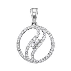 0.16 CTW Diamond 2-stone Divided Circle Pendant 10KT White Gold - REF-14M9H