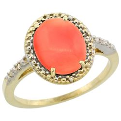 Natural 2.02 ctw Coral & Diamond Engagement Ring 14K Yellow Gold - REF-32V8F