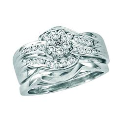 0.50 CTW Diamond Bridal Wedding Engagement Ring 14KT White Gold - REF-75F2N
