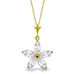 Genuine 1.40 ctw White Topaz Necklace Jewelry 14KT Yellow Gold - REF-25M8T