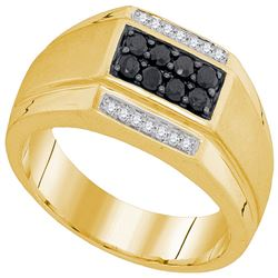 0.42 CTW Mens Black Color Diamond Rectangle Cluster Ring 10KT Yellow Gold - REF-37H5M