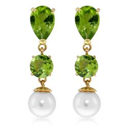 Genuine 10.50 ctw Peridot & Pearl Earrings Jewelry 14KT Yellow Gold - REF-40P9H