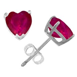 Genuine 2.9 ctw Ruby Earrings Jewelry 14KT White Gold - REF-27Y6F