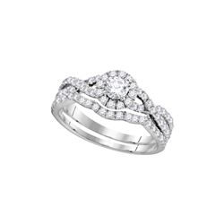 1 CTW Diamond Bridal Wedding Engagement Ring 14KT White Gold - REF-101Y2X