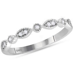 0.10 CTW Diamond Stackable Ring 14KT White Gold - REF-22M4H