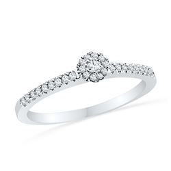 0.16 CTW Diamond Solitaire Halo Promise Bridal Ring 10KT White Gold - REF-18Y2X