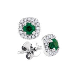 0.46 CTW Emerald Solitaire Diamond Screwback Earrings 14KT White Gold - REF-49X5Y