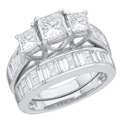 2.54 CTW Princess 3-Stone Diamond Bridal Engagement Ring 14KT White Gold - REF-524K9W