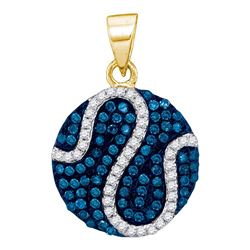 0.45 CTW Blue Color Diamond Circle Pendant 10KT Yellow Gold - REF-22M4H
