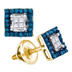 0.33 CTW Blue Color Diamond Square Cluster Earrings 10KT Yellow Gold - REF-22K4W