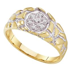 0.04 CTW Mens Diamond Nugget Ring 10KT Two-tone Gold - REF-14W9K
