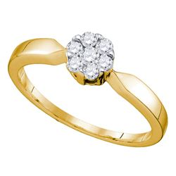 0.25 CTW Flower Cluster Diamond Bridal Wedding Engagement Ring 10KT Yellow Gold - REF-22Y4X