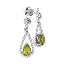 1.94 CTW Pear Natural Peridot Diamond Dangle Earrings 14KT White Gold - REF-89H9M