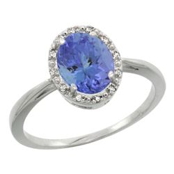 Natural 1.35 ctw Tanzanite & Diamond Engagement Ring 14K White Gold - REF-49M8H
