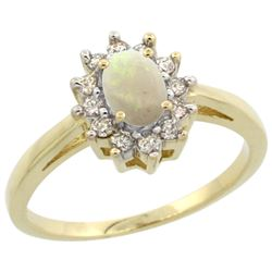 Natural 0.47 ctw Opal & Diamond Engagement Ring 10K Yellow Gold - REF-38A8V