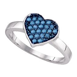 0.30 CTW Blue Color Diamond Heart Cluster Ring 10KT White Gold - REF-22H4M
