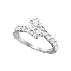 1.46 CTW Diamond 2-stone Bridal Wedding Engagement Ring 14KT White Gold - REF-187Y4X