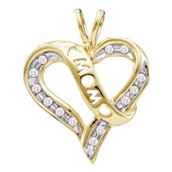 0.12 CTW Diamond Mom Mothers Heart Love Pendant 10KT Yellow Gold - REF-12X2Y