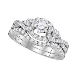 1 CTW Diamond Woven Bridal Wedding Engagement Ring 14k White Gold - REF-142Y4X