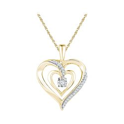0.10 CTW Diamond Solitaire Heart Pendant 10KT Yellow Gold - REF-20Y9X