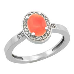 Natural 0.83 ctw Coral & Diamond Engagement Ring 10K White Gold - REF-24F8N