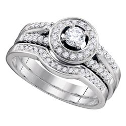 0.50 CTW Diamond Bridal Wedding Engagement Ring 14KT White Gold - REF-89Y9X