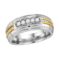 0.27 CTW Mens Pave-set Diamond Double Rope Wedding Ring 10KT White Gold - REF-44X9Y