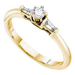 0.19 CTW Diamond Solitaire Bridal Engagement Ring 14KT Yellow Gold - REF-38F9N