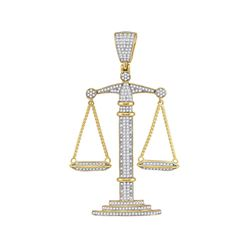 0.95 CTW Mens Diamond Scales of Justice Charm Pendant 10KT Yellow Gold - REF-89M9H