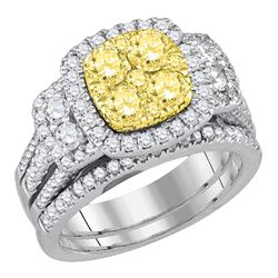 1.99 CTW Yellow Diamond Cluster Halo Bridal Engagement Ring 14KT White Gold - REF-240F2N