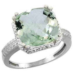 Natural 5.96 ctw Green-amethyst & Diamond Engagement Ring 10K White Gold - REF-32A4V