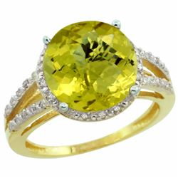 Natural 5.34 ctw Lemon-quartz & Diamond Engagement Ring 14K Yellow Gold - REF-43N5G