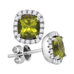 1 CTW Princess Peridot Solitaire Diamond Earrings 14KT White Gold - REF-67H4M