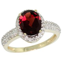 Natural 1.91 ctw Garnet & Diamond Engagement Ring 14K Yellow Gold - REF-41R7Z