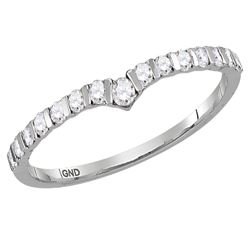 0.25 CTW Diamond Chevron Stackable Ring 10KT White Gold - REF-19Y4X