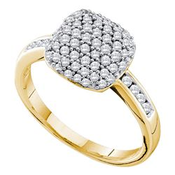 0.51 CTW Pave-set Diamond Square Cluster Ring 14KT Yellow Gold - REF-59K9W