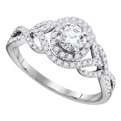 0.88 CTW Diamond Solitaire Bridal Engagement Ring 14KT White Gold - REF-194H9M
