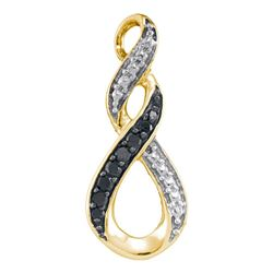 0.08 CTW Black Color Diamond Vertical Infinity Pendant 10KT Yellow Gold - REF-7X4Y