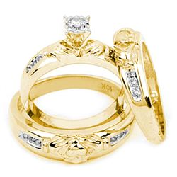 0.14 CTW Diamond Matching Claddagh Mens His & Hers Trio Ring 10KT Yellow Gold - REF-34F4N