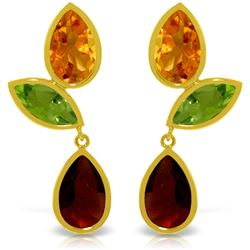 Genuine 13.6 ctw Multi-gemstones Earrings Jewelry 14KT Yellow Gold - REF-62F4Z