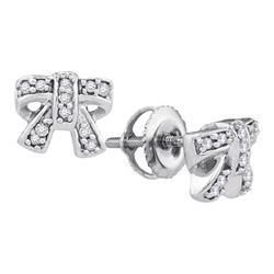 0.10 CTW Diamond Ribbon Bow Cluster Screwback Earrings 10KT White Gold - REF-13M4H
